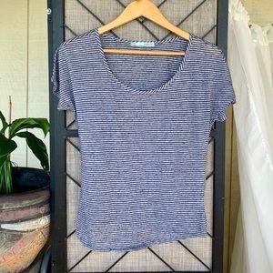 Maurices Striped Blue Grey T Shirt Medium